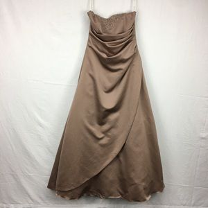 David's Bridal Taupe Satin Ruched/Beaded Ball Gown